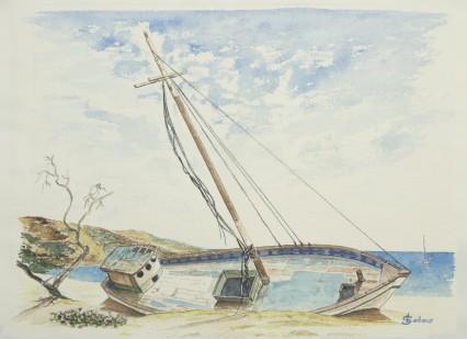 """Epave aux Grenadines"" 1997 - 38x28 cm"