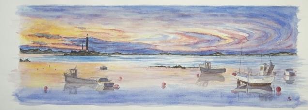 Nuit tombante sur l'Ile Vierge - Aber Wrac'h - 2013 - 68x24cm