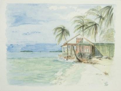 """""""Cabane au bord de l'eau"""", Maldives, 1997. 32x24cm"""