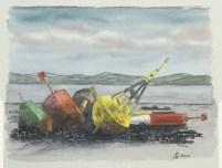 """""""Vieilles balises sur le quai"""", Brest -2013 - 29x23 cm"""