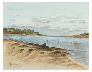 """""""La plage du Ganaoc au petit matin"""" - Saint-Pabu 2012 - 29x23 cm"""