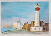 """""""Coucher de soleil à la Pointe Saint-Mathieu"""", Plougonvelin, 2017. 36 x 26 cm"""