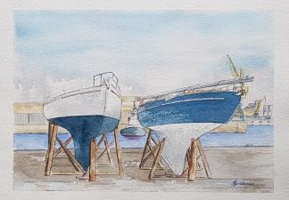 """""""Travaux en cours sur le quai"""", Brest, 2018. 38x28cm"""