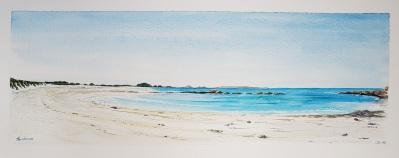 """""""Lumiere d'été sur la plage de Coulouarn"""", Saint-Pabu, 2018. 50x20cm"""