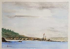 Le phare du Petit Minou sous la grisaille en hiver, Brest. 30 x 23 cm