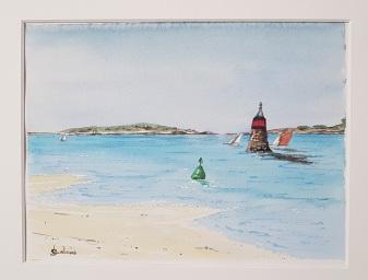 Régate estivale devant le Chien, Saint-Pabu, 2018. 30 x 23 cm