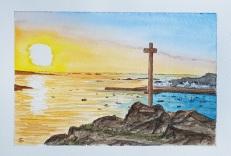 """""""Soleil couchant sur Portsall"""", 2018. 18x25cm"""