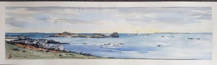 Fin de journée sur la côte sauvage à Landunvez, 2020. 20x60 cm