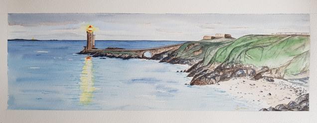 Tombée de la nuit sur le phare du Petit Minou, Brest. 2020 20x50cm