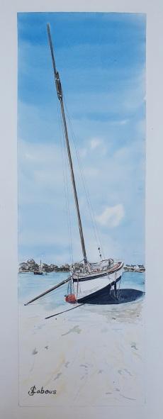 Le beau vieux voilier à marée basse, Tremazan . 50x20 cm, 2020